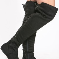 Black Faux Suede Thigh High Boots @ Cicihot Boots Catalog:women's winter boots,leather thigh high boots,black platform knee high boots,over the knee boots,Go Go boots,cowgirl boots,gladiator boots,womens dress boots,skirt boots.