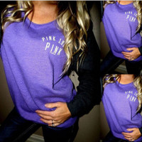 """Pink"" Victoria's Secret Letter  Print Multicolor Top Blouse Sweatshirt"