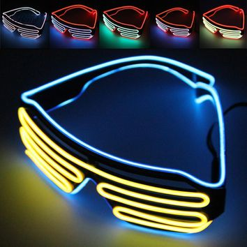El Glasses El Wire Fashion Neon LED Light Up Shutter Shaped Glow Sun Glasses Rave Costume Party DJ Bright SunGlasses DIY Decor