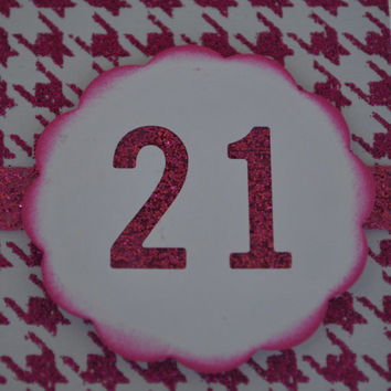 Happy 21st birthday Pink glitter and sparkle birthday girl card for a woman