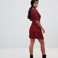 New Look Petite animal wrap dress in red pattern | ASOS