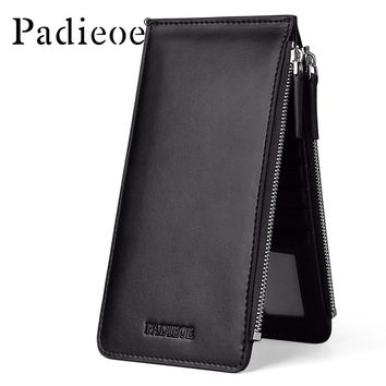 Card Holder Leather New Fashion Wallet Men Leather Credit Card Holder Card Wallet Double Zipper Purse Coins
