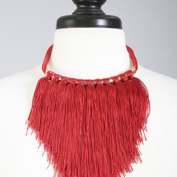 fringe forever collar necklace - red