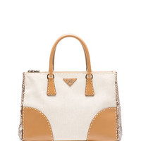 Prada Canvas Tote Bag with Python & City Calf Trim, Natural (Naturale)