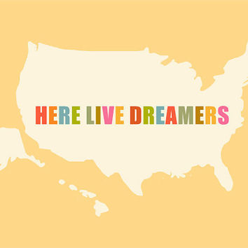 Here live Dreamers 10 x 8 USA map travel print by EinBierBitte