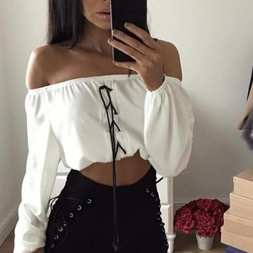 Jayla Off-the-Shoulder Drawstring Crop Top