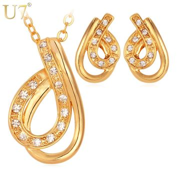 U7 Necklace Set Gold Color Rhinestone Trendy Women Party Jewelry Gift Sale Necklace Earrings Jewelry Sets S483