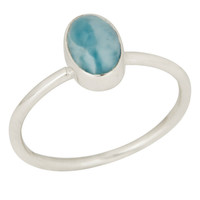 Natural Larimar Gemstone Ring Made In 925 Sterling Silver Jewelry