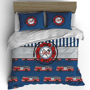 Personalized Firetruck Bedding Set