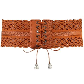 Atomic Brown Leather Hollow Corset Belt