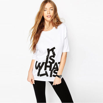 Fashion Women T-shirt Letter Printed Cotton Brand TShirt Women Top