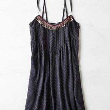AEO Women's Embroidered Sundress (Grey)