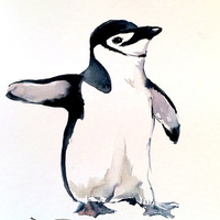 Babe Penguin, Original watercolor painting, 8 X 10 in, black and white nursery art, childrne room, penguin painting