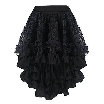 Fashion Summer Fluffy Skirt Retro Steampunk Skirts Lace Midi Skirt Plus Size 6XL Fluffy Skirt for Women