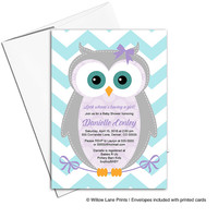 baby girl shower invitation owl | purple and teal baby shower invites | printable or printed - WLP00784