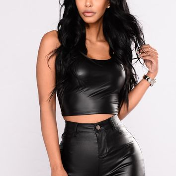 Kiki Pleather Cropped Top - Black
