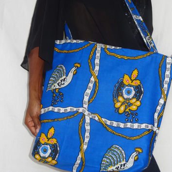 Tote Bag Blue African Wax Print