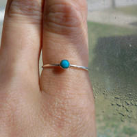 3mm turquoise and sterling silver stacking ring - custom made to size