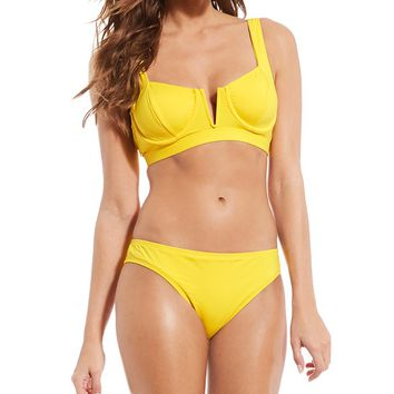 Gibson & Latimer Solid Sunshine Underwire Bikini Top & Hipster Swimsuit Bottom | Dillard's