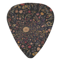 Medieval Flowers on Black Guitar Pick