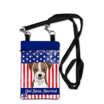 American Flag and Jack Russell Terrier Crossbody Bag Purse BB2132OBDY