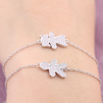 Adjustable Fashion Authentic 925 Sterling Silver Boy Or Girl Charm Link Chain Slave Bracelet Christmas Gift For Girl and boy