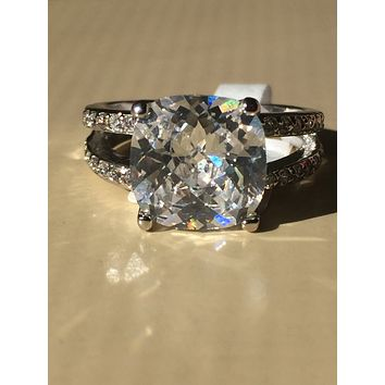 SALE A Perfect 3.9CT Cushion Cut Solitaire Russian Lab Diamond Split Shank Engagement Ring