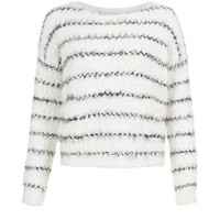 White and Navy Stripe Fluffy Boxy Jumper