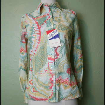 Vintage '70s Deadstock Feather Blouse// Judy Bond Button-Up// L