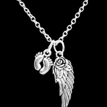 Angel Wing Baby Feet Miscarriage Child Infant Loss In Memory Sympathy Necklace