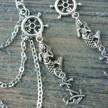 ships wheel mermaid ear cuff chained earring SET siren anchor in beach boho gypsy hippie belly dancer beach hipster and fantasy style