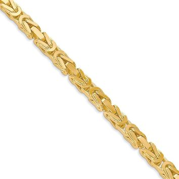 4mm, 14k Yellow Gold, Solid Byzantine Chain Necklace