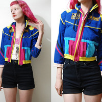80s Vintage JAKPAC Jacket Bright Colour Block Patches Club Kid Rave Kawaii Kitsch Small Cropped Fit vtg 1980s XS