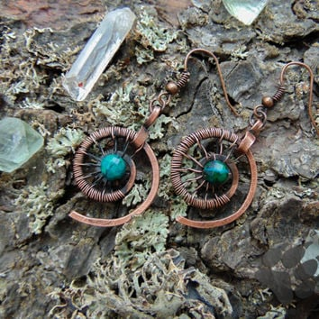 Copper viking earrings,celtic earrings, shieldmaiden|elven earrings|celt, spirals|wiccan |norse jewelry|medieval jewelry,chrisocola earrings