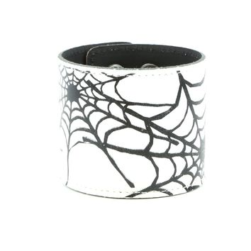 "White & Black Spiderweb Leather Wristband Cuff Bracelet 2-1/2"" Wide"