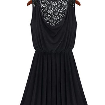 Black V-Neck Back Lace Accent Sleeveless A-line Mini Pleated Dress