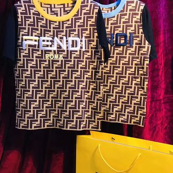 FENDI Mania FF Splice Crew neck T-shirt