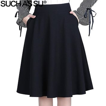 SUCH AS SU Skirts Womens Fall Winter 2017 New Black Brown Gray Lattice Knit Mid Long Pleated Skirt S-3XL Size Office Lady Skirt
