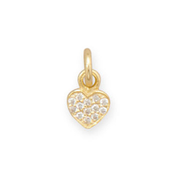 Tiny 14 Karat Gold Plated CZ Heart Charm