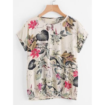 Floral Print Tee Multicolor