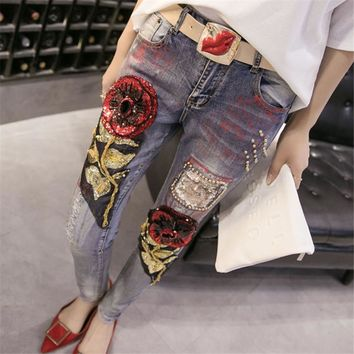 Roses Sequined Ripped Jeans for Women Autumn Winter New Arrivals High Waist Denim Pencil Pants Plus Size Strench Trousers 41026