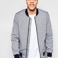 River Island Bomber Jacket With Oversized Pockets In Chambray at asos.com