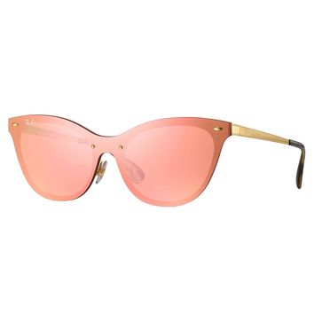 Ray-Ban RB3580N Blaze Cat Eye Sunglasses Gold/ Pink Mirror 43mm