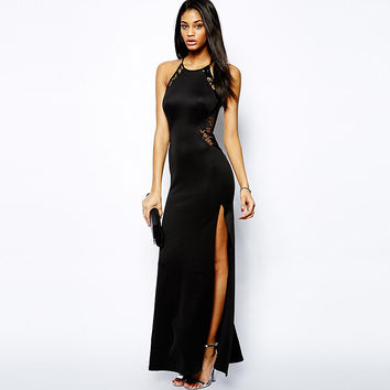 Black Lace Sleeveless Maxi Dress With Slit