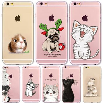 For iPhone6 Case Cute Cats Hamster Animals Case For iphone 6S 6Plus 5 5s Case SE 4 4s Silicone Back Cover for iPhone5s Cover