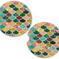 Mermaid Car Cup Coaster Pink Teal Gold Glitter Look Scales, Monogrammed Cup Holder, Custom Auto Gift, Sandstone Coaster, gift for her