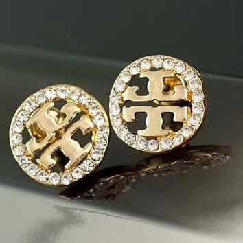 Tory Burch New Fashion Diamond Round Earrings Accessories