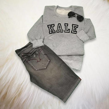 Kale Sweatshirt Kale Sweater Kale University Tumblr Sweatshirt Kale Shirt Funny Sweatshirt Pullover Grey Sweatshirt