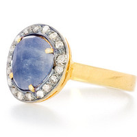 Blue Sapphire Chai Talisman Protection Ring