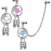 Dream Catcher With Gemmed Double Cartilage/Tragus 16g Barbell Chain Dangle (Clear)